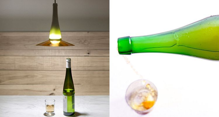Upcycling una botella de txacolí y laflor lamp